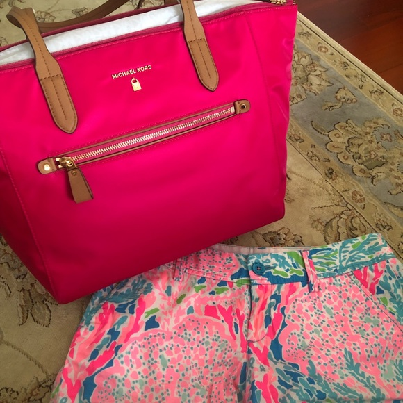 6ce6d06b20e3 Michael Kors pink nylon Kelsey tote bag NWT